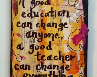 Teacher art book painting classroom decor education gift art music wall quote original mixed media collage PRINT