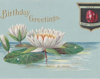 July Birthday Flower- 1910s Antique Postcard- Water Lily- Ruby Birthstone- Purity of Heart- Edwardian Birthday Card- Paper Ephmera