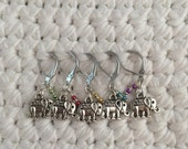 Removable Stitch Markers Elephants - 5 Elephant Stitch Markers for Crochet and Knitting
