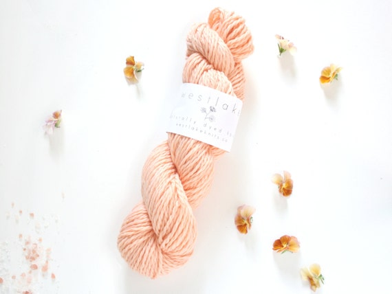 Peach Hand Dyed Yarn, Pure Merino Wool
