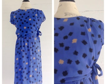 Vintage PERIWINKLE 80s Dress w Retro Abstract Design