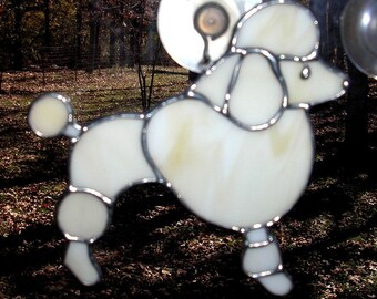 LT Stained glass light tan Poodle suncatcher light catcher bone French Poodle