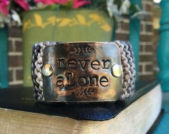 Hand Stamped Custom Bracelet, Christian Bracelet, Boho Wrap Knit Cuff, Never Alone Verse Bracelet, Mom Bracelet, Faith Jewelry