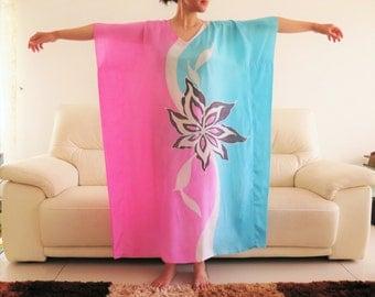 Duo Blue Pink Floral Batik Kaftan