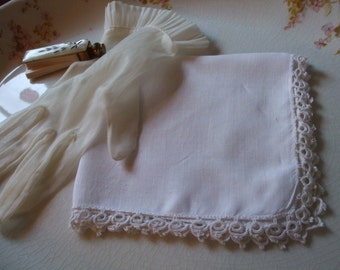 Handkerchief Tatting Linen Hanky Bridal Wedding