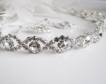 Clear 2 piece set Wedding Necklace Bridal Necklace - Bridal Jewelry - Wedding Necklace - bridal set- Backdrop Bridal Necklace