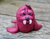 Purple Walrus Polymer Clay Sculpture