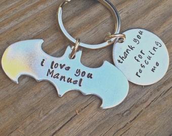 Batman Keychain, Fathers Day Gifts, Boyfriend,  Boyfriend Gift, Dad, Batman, personalized Keychain, natashaaloha