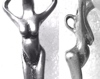 Vintage Tribal Sterling Silver Fertility Goddess Pendant   (66.163)