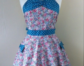 Retro apron with bow, vintage floral pattern, 1950s inspired, fully lined.