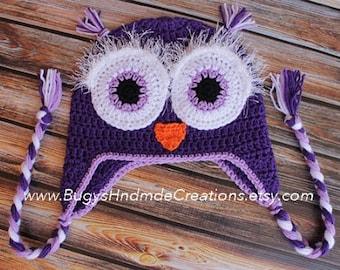 Adorable Girls Sleepy Owl Hat Purple