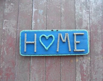 HOME Rope Letter on Wood Nautical Decor Rustic Beach Lake Camp HOME with Heart Handmade Choose Colors
