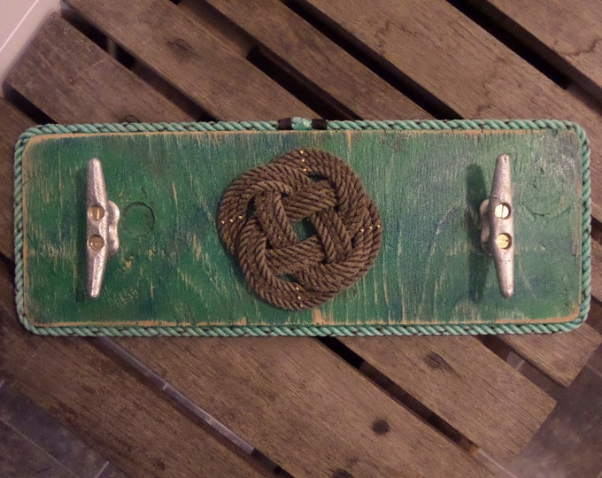 Coat Rack Reclaimed Distressed Wood Painted Knot and 2 Cleats Hooks Nautical Beach Lake House Choose Color