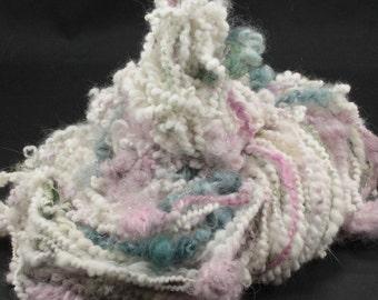 Handspun art yarn Angora flowers, 5.1 oz, 91 yards