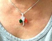 Silver Shamrock Necklace Pendant Chain - Shamrock Charm Jewelry - Local Irish Ireland Flag Color - Holy Trinity -  St. Patrick's Day Jewelry