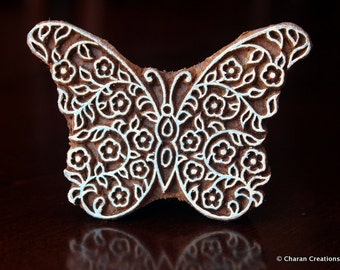 Textile Stamp, Pottery Stamp, Indian Wood Stamp, Tjaps, Blockprint Stamp, Hand Carved Wood stamp- Stylized Butterfly