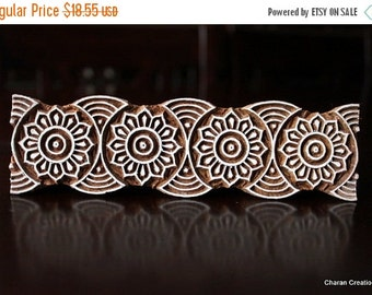 THANKSGIVING SALE Hand Carved Indian Wood Textile Stamp Block- Floral Border (Reduced)