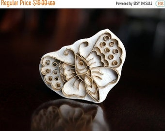THANKSGIVING SALE Handmade Indian Wood and Brass Textile Stamp- Butterfly