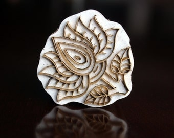 Handmade Indian Wood and Brass Textile Stamp- Lotus Flower