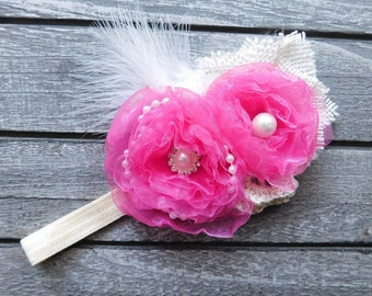 Organza Flowers Vintage Style Headband with White Marabou Feathers, Pearl Beads and Rhinestones Baby Girl Gift Photo Prop