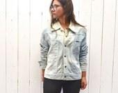 Distressed Denim Jacket 80s Vintage Light Blue Bleach Dyed Lee Denim Large