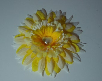 Fabric Flower Accessory, Hair Clip or Lapel Pin, Yellow and White Flower Pin or Hair Clip, Small Gift