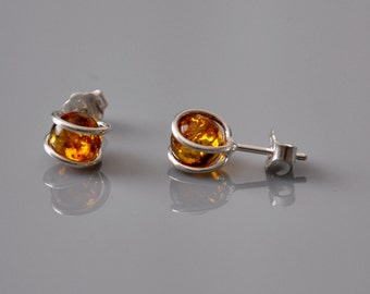 Natural  Baltic Amber Earrings Studs