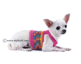 Pink Dog Harness Medium Dog Clothes Girl with D Ring Handmade Crochet Cotton Comfortable Pet Collar  DH13 by Myknitt - Free Shipping