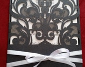 Custom listing for Lisa - Beautiful Black lace Swirl Laser Cut Pocket Wedding invitation card with white satin ribbon