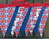 British fabric bunting - Union Jack decor -  British decor - flag bunting - Union Jack bunting - London  bunting - London bus bunting