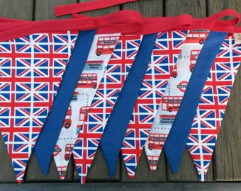 British fabric bunting, Union Jack decor, British decor, flag bunting, Union Jack bunting, London  bunting, London bus bunting, UK decor