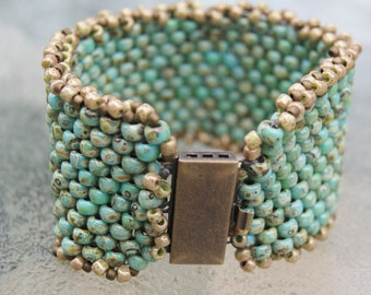 Peyote Stitched Green and Brown Picasso Bead Bracelet