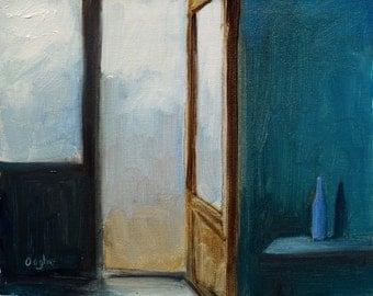 Original Oil Painting - Still Life - Interior - Window - Door - Blue Bottle - Impressionist Painting -Small Painting - Original Art - 8 x 10