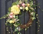 Spring Wreath Easter Egg Wreath Summer Wreath Grapevine Door Wreath Decor Yellow Hydrangea Pink Blue Green Indoor Outdoor Decoration, Eggs