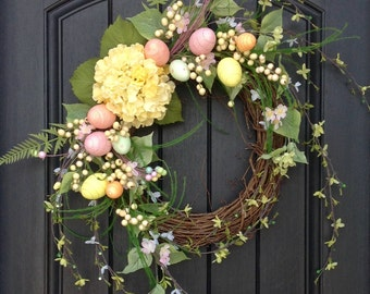 Spring Wreath Easter Egg Wreath Summer Wreath Grapevine Door Wreath Decor Yellow Hydrangea Pink Blue Green Indoor Outdoor Decoration, Eggs