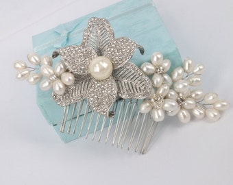 Marie-Freshwater Pearl and Rhinestone Bridal Comb