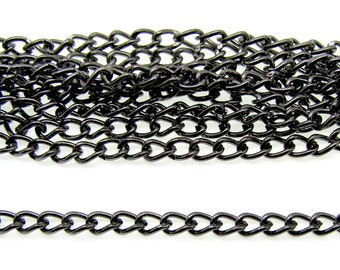 Gunmetal Chain : 16 feet (5 meters) Gunmetal Twist Oval Chain |  Black Necklace Chain 3mm x 4mm x .8mm -- Lead, Nickel & Cadmium Free 73002