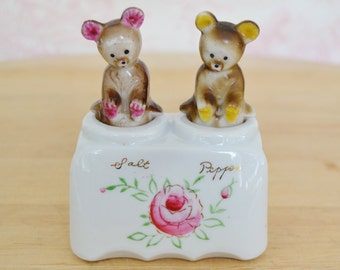 Vintage Teddy Bear Nodder Salt and Pepper Shakers with Floral Painted Accents