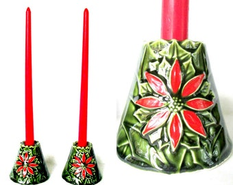Poinsettia Candlesticks Taper Candle Holders / Set of 2 Enesco Holiday Table Decor