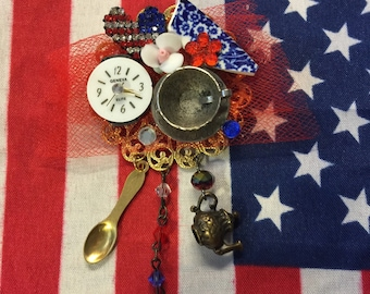 Red White and Blue Time for a Patriotic USA Tea Party PIN - AMERICANA Brooch