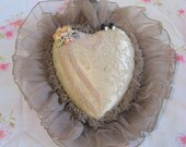 Shabby Chic, large victorian style, heart shaped pin cushion