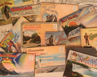 Vintage Souvenir Folders  - Fold out Art Booklets from the 1940s - Lot of 12