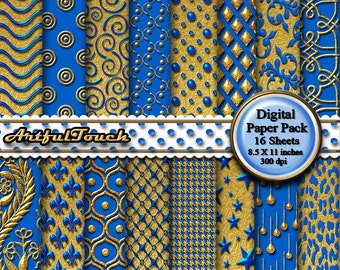 Blue Gold Digital Paper: Gold Digital Paper Gold Digital Scrapbook Paper Pack, Gold Blue Paper, Gold Printable Party Paper  INSTANT DOWNLOAD