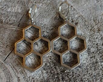 Boucles d'oreilles argent alvéoles // Silver earrings honeycomb // geometric earrings  (BO-1083)