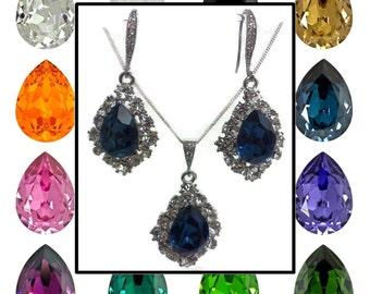 Bridesmaid Jewelry Set, Swarovski Crystal Bridal Earrings, Teardrop Necklace, Dangle Earrings, Drop Necklace, Bridesmaid Gift, BIJOUX