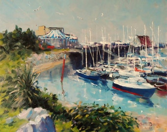 Original Irish painting , Howth Harbour Marina Summer, Dublin, Ireland. Oil on canvas panel 12x10 inches by Bill O'Brien