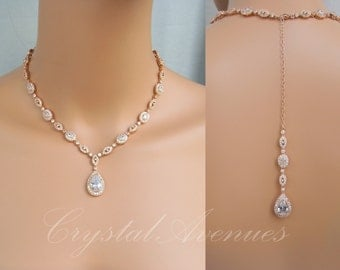 Rose Gold Bridal necklace, Backdrop Crystal Wedding Necklace,  Swarovski, Crystal Bridal Jewelry, Wedding Jewelry, Christine Drop Necklace