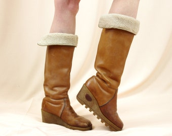 70s Boho Wedge Boots * Leather Platform Boots* Caramel Leather Boots * Hippie Boots * Winter Boots * Tall Boots * size 7
