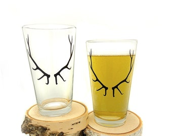 Antler Pint Glasses - Set of two 16oz. Pint Glasses