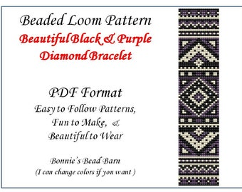 Loom Pattern - Purple and Black Diamonds Loom Bead Pattern - PDF File